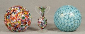 "Millefiori Ball Shade, 4 1/4"", 2 Other Art Glass B"