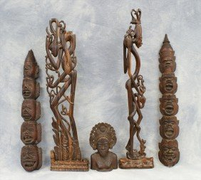 (5) Assorted Indonesian Wood Carvings, C/o 2 Mas