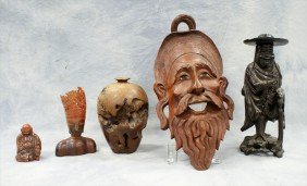(5) Assorted Horn & Wood Pieces, C/o Burl Vase,