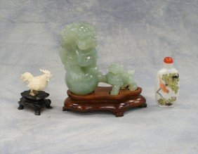(3) Pieces C/o Chinese Hardstone Foo Dog Carving