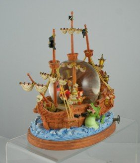 Peter Pan Captain Hook's Ship Musical Snow Globe,