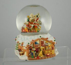 Mickey And Goofy With Santa Musical Snow Globe, ""