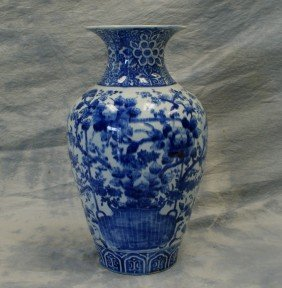 Blue And White Japanese Floral And Bird Decorated
