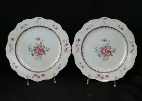 Pair Of Chinese Export Porcelain Armorial Plates,