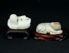 (2) Pcs Of Chinese Carved Jade, Including A Water