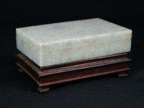 Yamanaka Silver Mounted Chinese Jade Box, Marked