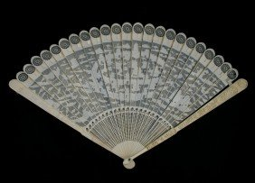 Important Chinese Export Caved Ivory Brise Fan De