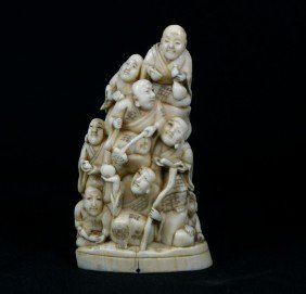 Japanese Carved Ivory Multi-figural Group, Circa