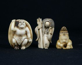 (3) Japanese Carved Ivory Netsukes, 19-20th Centu
