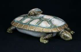 Japanese Turtle Shaped Porcelain Covered Box, Pr