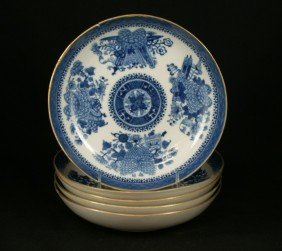 (5) Chinese Porcelain Fitzhugh Bowls, C 1840, Ha
