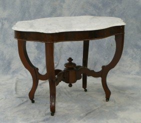 Walnut Victorian Turtle Shaped Marble Top Table,