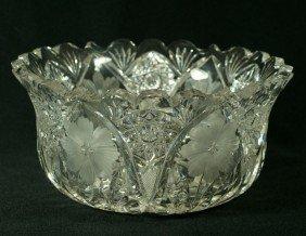 Flared Brilliant Cut Glass Round Bowl, Hobstars,