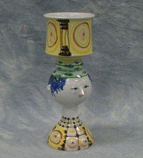 Figural Danish Pottery Vase, Inscribed V42 / Dan