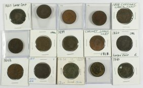 15 Different Large Cents Generally AG/G 1818, 182