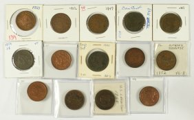 14 Different Large Cents Generally AG/G 1837-38,