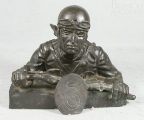 E Diosi, Cold Cast Bronze, Shell Challenge Motorcyc