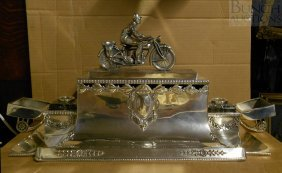 Plated Silver Desk Stand Motocycle Racing Trophy,