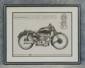 """Velocette 350 KTT MK VIII, 1939 Print, 19"""" X 24"""""""