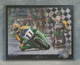 "Signed A Lee Bivens Motorcycle Print, ""Screamin' Ch"