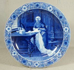 Royal Delft Charger, Woman Sewing, Artist EGL, C
