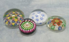 (4) Millefiori Glass Paperweights, One With Paper
