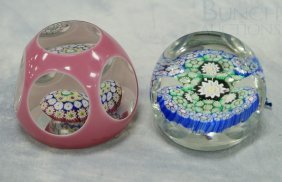 (2) Window-cut Millefiori Paperweights, One With