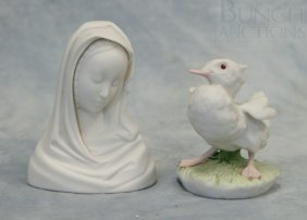 (2) Cybis Figurines, Madonna Bust Dated 1971, 4