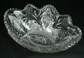 Brilliant Cut Glass Oval Bowl, Bridgeton Rose Pat