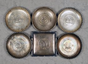 (6) Chinese Silver Coin Dishes, Signed, 11.24 T O