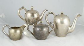 4 Pc Imperial Russian Silver Teaset, 2 Pots, Crea