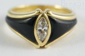 18K YG & Onyx Ladies Diamond Ring, About 1/2 Cara