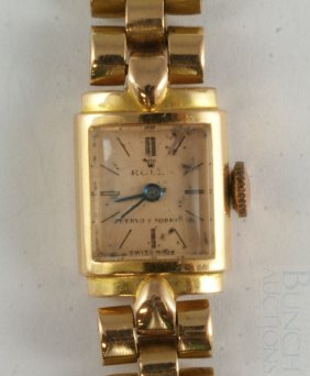 Ladies Rolex 18K YG Wrist Watch And Band, 17j Mov
