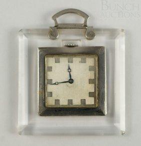 Sterling And Lucite Handbag Pocket Watch, Movemen