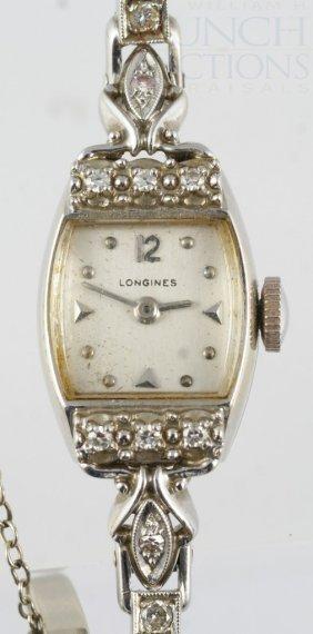 14K WG & Diamond Longines Ladies Wristwatch, Band