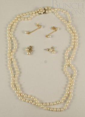 "21"" Double Row Strand Of 5 Mm Pearls, 14K WG Catc"