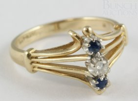 14K YG Diamond And Sapphire Ladies Ring, Size 6,