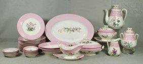 29 Pcs Haviland & Co Dinner Porcelain, Pink Borde