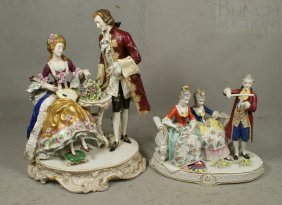 (2) Figural Porcelain Musical Groupings, Continen
