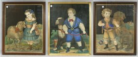 (3) Victorian Prints Of Children With Animals, In