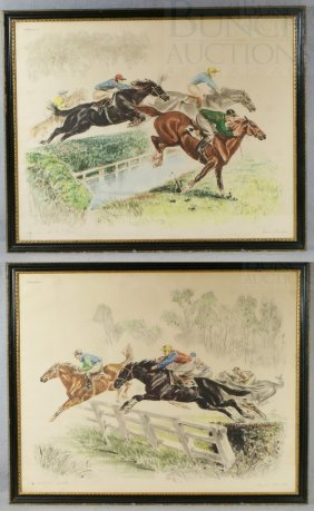Pair Of French Steeplechase Prints From The Paris