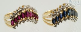 (2) 14K YG V Shaped Ladies Rings, One With Rubie