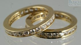 (2) 14K YG Eternity Bands Set With CZ, Size 5, 3