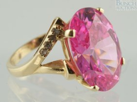 14K YG Pink Tourmaline Ladies Ring, 18 X 14mm St