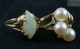 (2) 14K YG Kadies Rings, Marquis Opal And 3 Ston