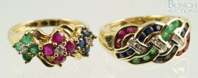 (2) 14K YG Ladies Rings With Green, Red, Blue St