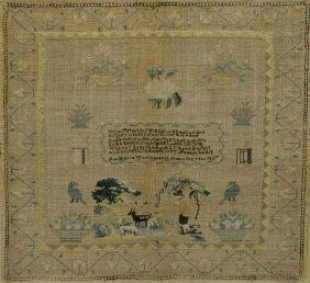 Ann Maria Warren's Needlework Sampler, 1827, With