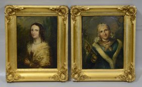Pair Of Continental School (18th Century), Oil On