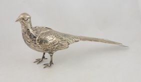 Continental Silver Pheasant Bottle With Hinged Wings,