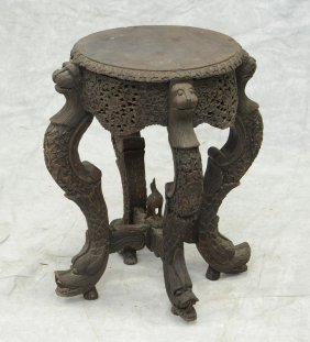 Carved Burmese Taboret Stand, Animal Heads At Top And